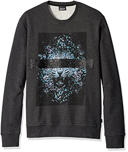 Just Cavalli Men's Blinded Leopard Sweatshirt, Gargoyle Melange, Small