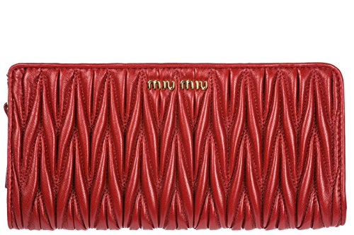 Miu Miu women's wallet leather coin case holder purse card bifold metelasse red