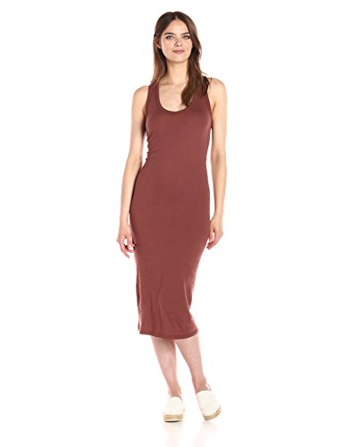 Enza Costa Women's Open Cotton Jersey Bold Racer Tank Midi Dress, Sable, L