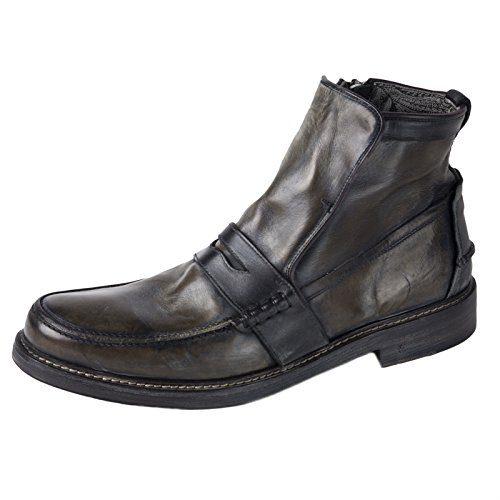 John Varvatos Men's Leather Patrick Penny-Keeper Boots 8 Coal