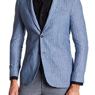 John Varvatos New $398 Luxe 100% Linen Blue Thompson Sportcoat Blazer Size 46R