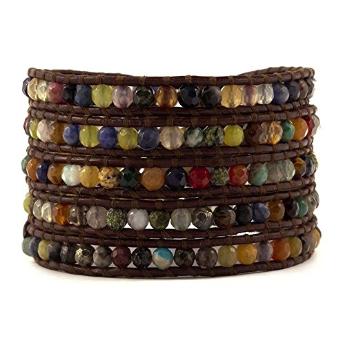 Chan Luu Multi Stone on Brown Leather Wrap Bracelet