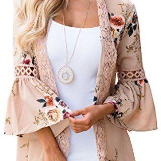 Hibluco Women's Casual Flare Sleeve Lace Hem Floral Cardigan (Small, Khaki)
