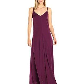 A|X Armani Exchange Women's Spaghetti Strap V Neck Woven Maxi Dress, Purple, 4