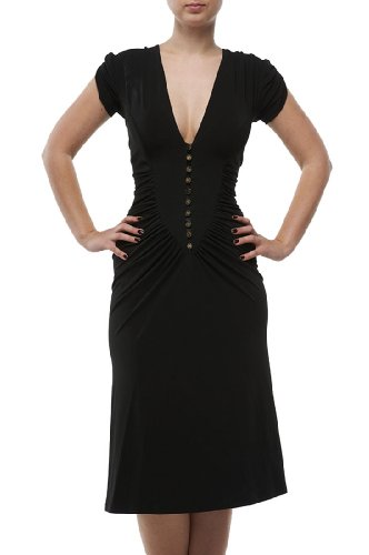 Roberto Cavalli - Button Down Pleated Dress Black, 40, Black