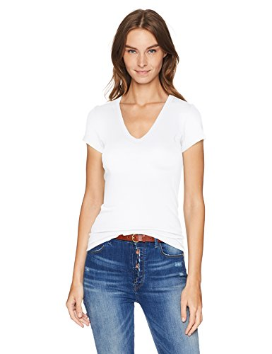 Enza Costa Women's Island Cotton Cap Sleeve U-Neck T-Shirt, White, XS