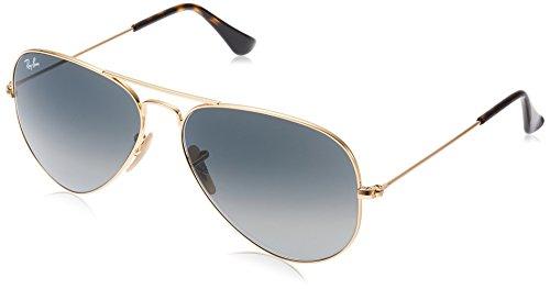 Ray-Ban Aviator Large Metal Non-Mirrored Non-Polarized Sunglasses, Gold/Light Grey Gradient Dark Grey (181/71), 58mm