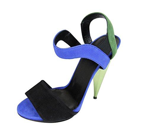 483747652ae3 Gucci Women s Black Green Blue Suede Colorblock Liberty Platform Sandals  347558 (G 36.5