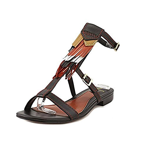 B Brian Atwood Womens Megan Leather Boho T-Strap Sandals Black 10 Medium (B,M)