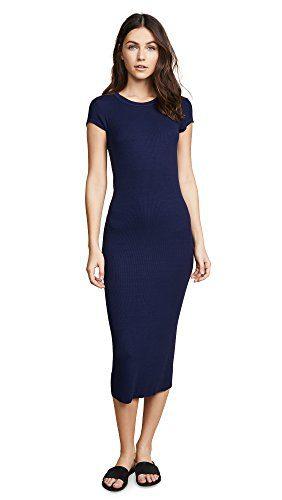 Enza Costa Women's Ribbed Cap Sleeve Dress, Atlantic, X-Small