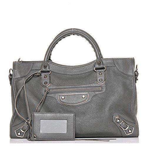 Balenciaga Edge City Gris Grey Silver Leather Handbag Bag New