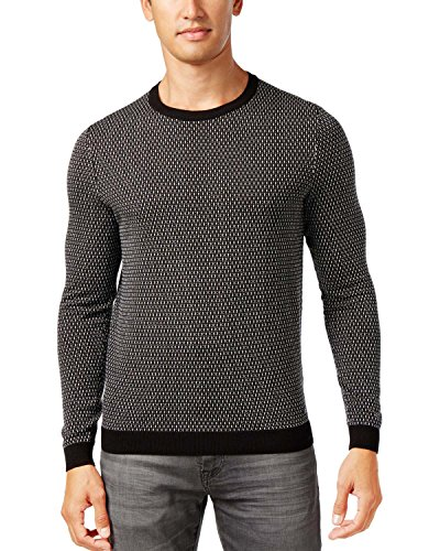 Hugo Boss Green Label Ricco Textured Geometric Crewneck Sweater Black X-Large