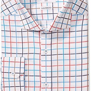 "Robert Graham Men's Trim Fit Windowpane Spread Collar Dress Shirt, Multi, 16"" Neck 34""-35"" Sleeve"