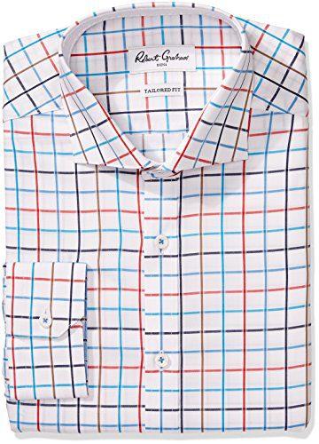 "Robert Graham Men's Trim Fit Windowpane Spread Collar Dress Shirt, Multi, 16"" Neck 34""-35"" Sleeve"