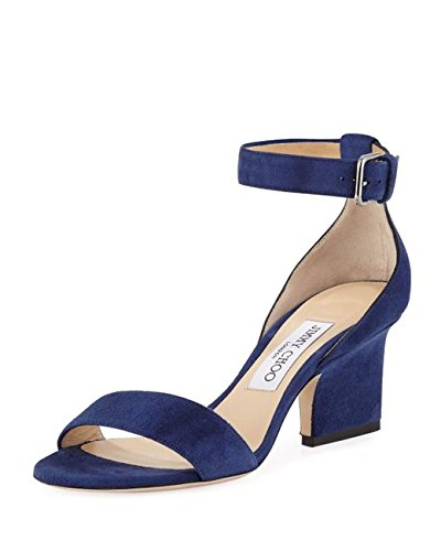 JIMMY CHOO Edina Suede Sandal, Blue 40