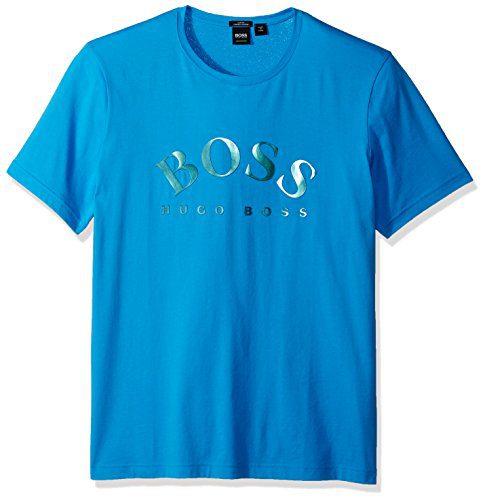 BOSS Green Men's Tallone Modern Heritage Logo Tee, Blue Aster, XXL