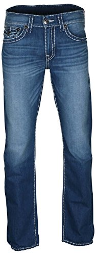 True Religion Men's Geno Relaxed Slim Super T Jeans With Flaps In Ultra Indigo (36)