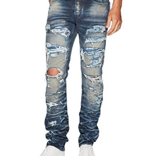 PRPS Goods & Co. Men's Quilt Jean, Indigo Blue, 32