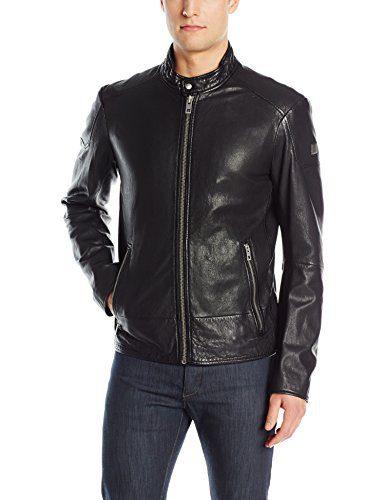 BOSS Orange Men's Jofynn Sheep Leather Biker Jacket, Black, 38R