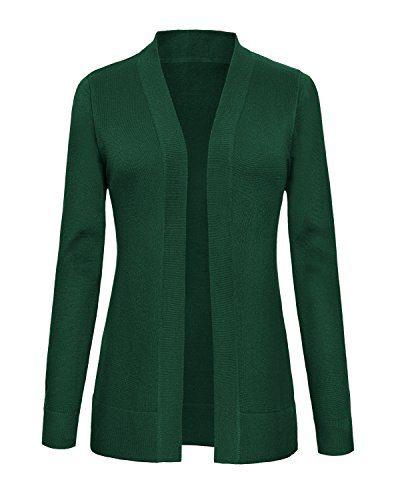 Urban CoCo Women's Long Sleeve Open Front Knit Cardigan Sweater (XL, Dark Green)