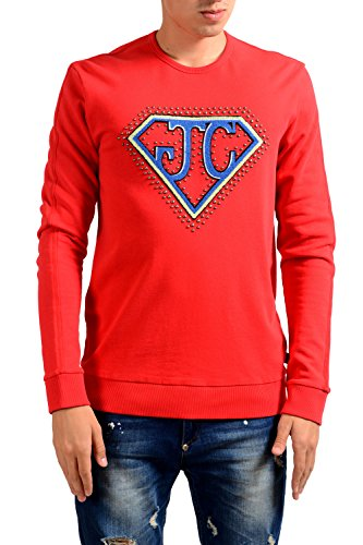 Just Cavalli Men's Red Decorated Crewneck Long Sleeve Sweatshirt US M IT 50