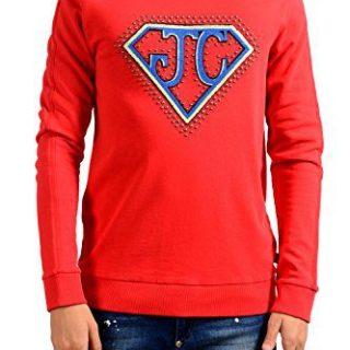 Just Cavalli Men's Red Decorated Crewneck Long Sleeve Sweatshirt US M IT 50