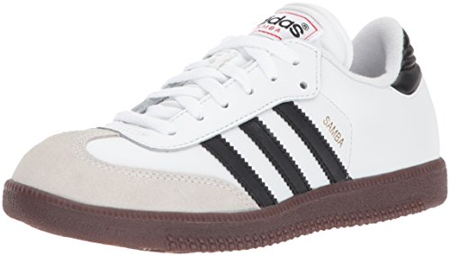 adidas Samba Classic Leather Soccer Shoe (Toddler/Little Kid/Big Kid),White/Black/White,4 M US Big Kid