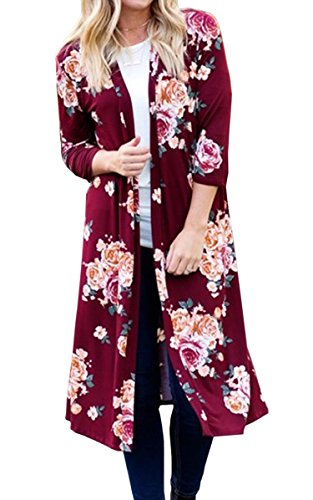 Hibluco Women's Casual 3/4 Sleeve Floral Printed Open Long Cardigan Jacket Outwear (XXX-Large, Red)