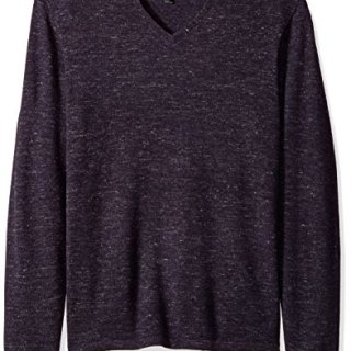 John Varvatos Men's V-Neck Sweater, Aubergine, Large
