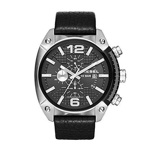 Diesel Men's Overflow Stainless Steel Black Leather Watch