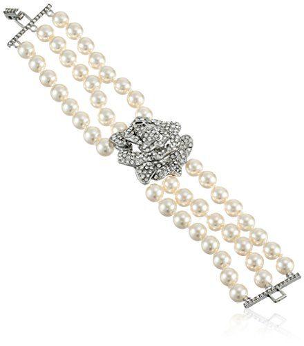 Kenneth Jay Lane Bride Simulated Cream Pearl Crystal Rose Three Row Strand Bracelet