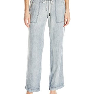 Michael Stars Women's Linen Denim Tencel Wide Leg Pant, Vintage Wash, L