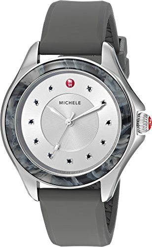 Michele Women's 'Cape' Quartz Stainless Steel and Silicone Casual Watch, Color: Grey
