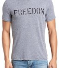 John Varvatos Men's Short Sleeve Freedom Stencil Graphic T-Shirt Medium Hematite