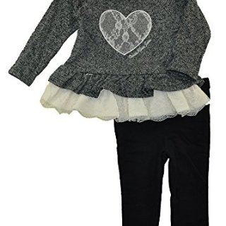 Calvin Klein Girls' Toddler French Terry/Lace Tunic with Leggings Set, Black, 3T