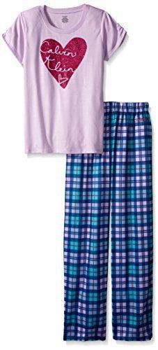 Calvin Klein Little Girls' Heart Plaid 2 Piece Pajama Set, Purple, 5/6