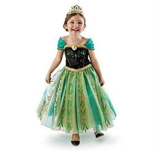 DaHeng Girls Princess Green Anna Fancy Dress Costume