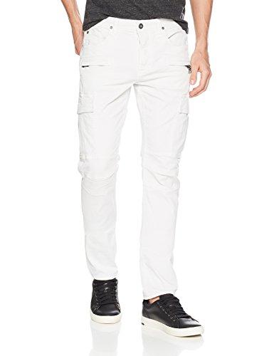 Hudson Jeans Men's Greyson Slim Fit Cargo Biker Pant, Off White, 34