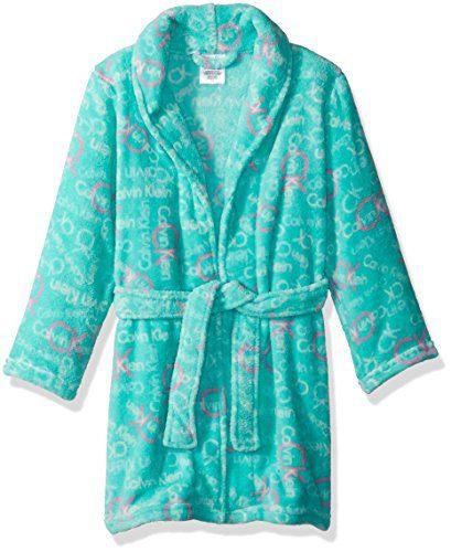 Calvin Klein Little Girls' Ck Print Plush Robe, Mojito, 5/6