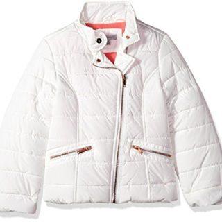 Calvin Klein Big Girls' Biker Puffer, Cream, Large (12/14)