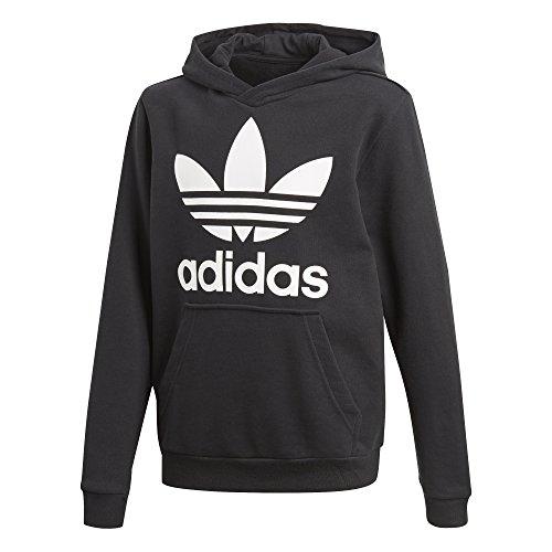 adidas Originals Big Kids Originals Trefoil Hoodie, Black/White, M