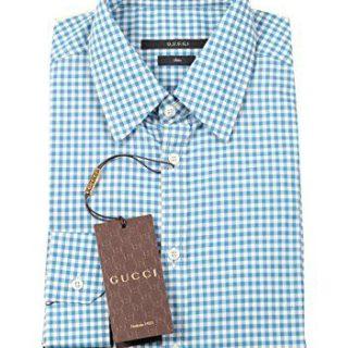 Gucci CL Checked Blue Dress Shirt Size 43/17 U.S. Slim