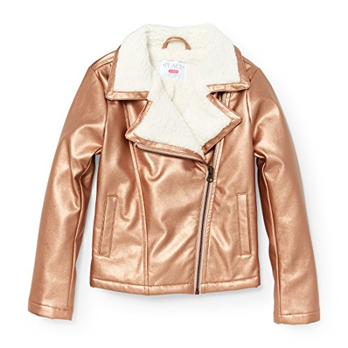 The Children's Place Big Girls' Metallic Motorcylcle Jacket