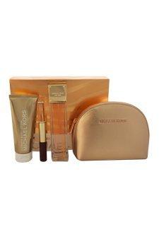 Glam Jasmine by Michael Kors for Women - 4 Pc Gift Set 3.4oz EDP Spray, 0.17oz EDP Lip Luster Dual Rollerball, 3.4oz Body Lotion, Makeup Bag