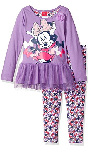 Disney Toddler Girls' 2 Piece Minnie Mouse Legging Set, Purple, 4T