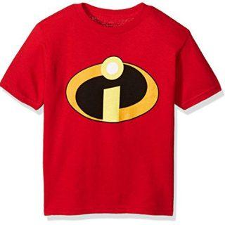 Disney Little Kids The Incredbles Logo Short Sleeve Tee, Red, 4