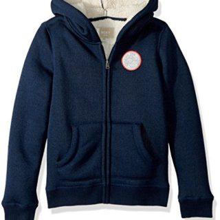 Roxy Big Girls' Feel Her Breath Sherpa Zip-up Sweatshirt, Dress Blues, 10/M