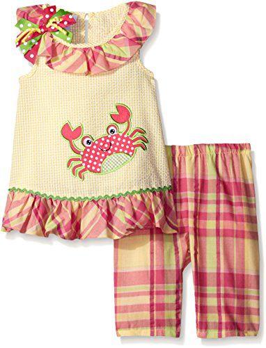 Bonnie Jean Girls' Crab Appliqued Seersucker Playwear Set, Yellow, 4T