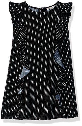 Calvin Klein Little Girls' Cascading Flounce Dress, Anthracite, 6