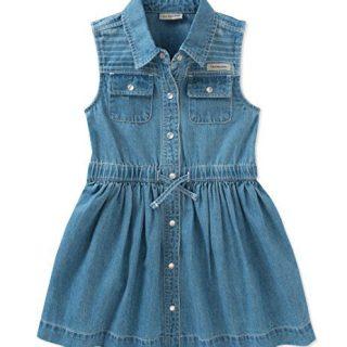 Calvin Klein Little Girls' Denim Dress, Medium Wash Denim, 4